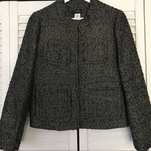 J Crew Black and Gold Tweed Blazer Size 2
